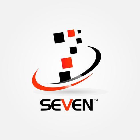 Número Sete Swoosh Logotipo