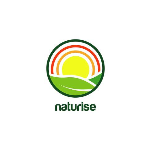 Sunrise-logo in cirkelvormig frame