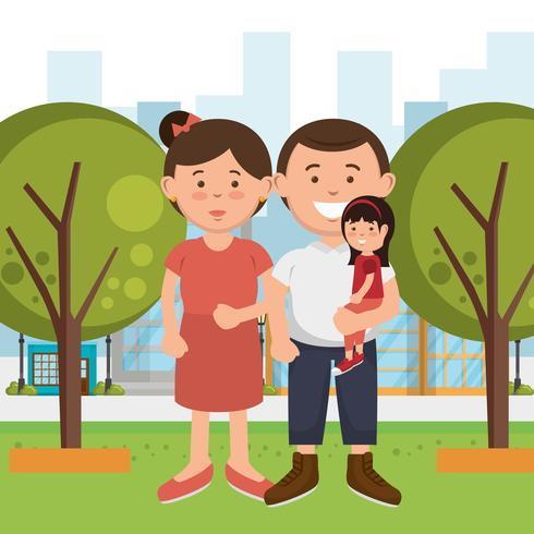 Familienmitglieder auf dem Park