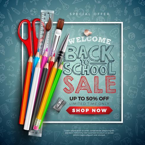Volver a la escuela Diseño de venta con lápices de colores, pinceles y tijeras