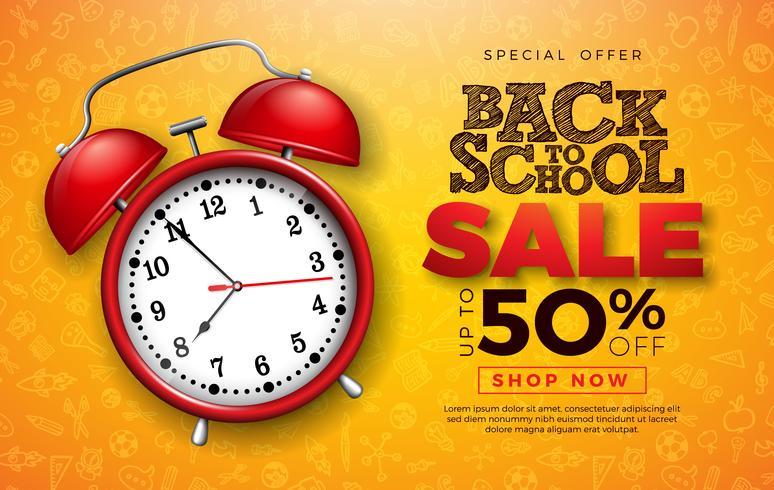 Diseño de venta de regreso a la escuela con reloj despertador rojo.