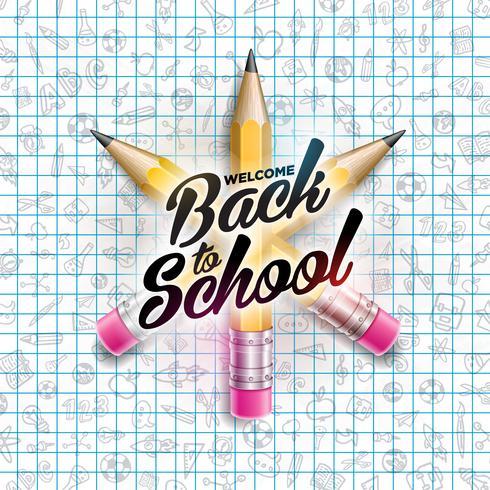 Tillbaka till skoldesign med färgglad blyertspenna.
