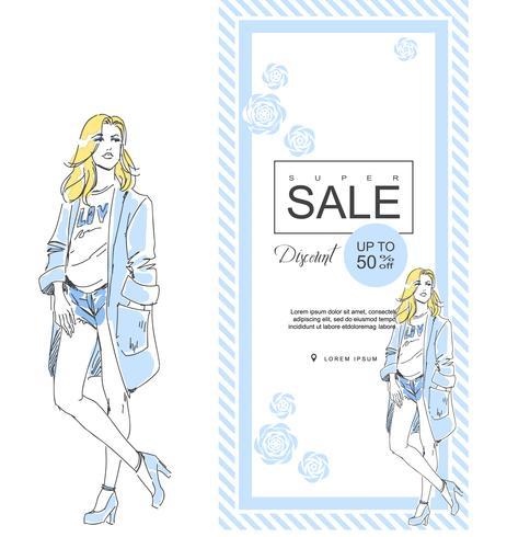 Mode shoppa försäljning med den eleganta flickan