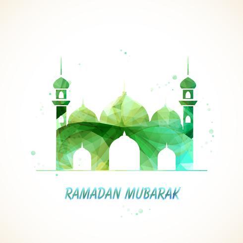 Creatieve groene moskee voor Ramadan Mubarak.