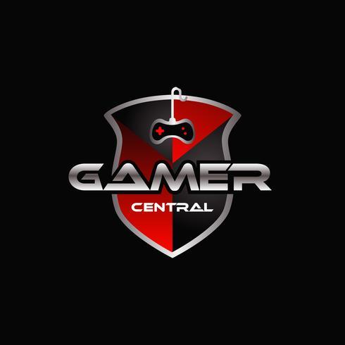 Controlador de jogos e logotipo de escudo