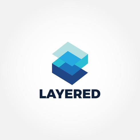 Blue Layered Blocks Logo