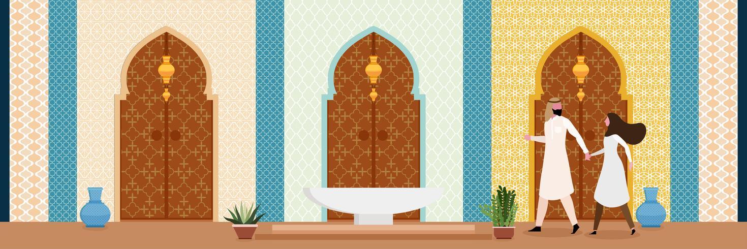 Interiör i ett orientaliskt vardagsrum med par