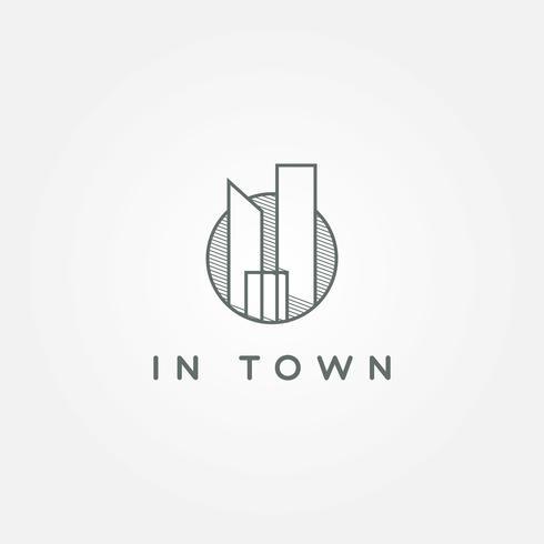 logotipo de cidade de arte de linha círculo