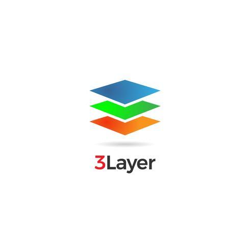 Icona di simbolo del logo a strati colorati astratti vettore