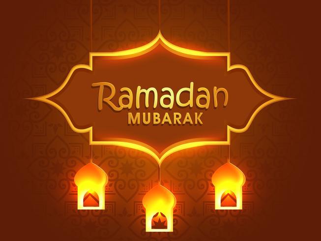Gratulationskortdesign för Ramadan Mubarak.