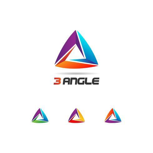 Conjunto de logo de triángulo de bucle colorido