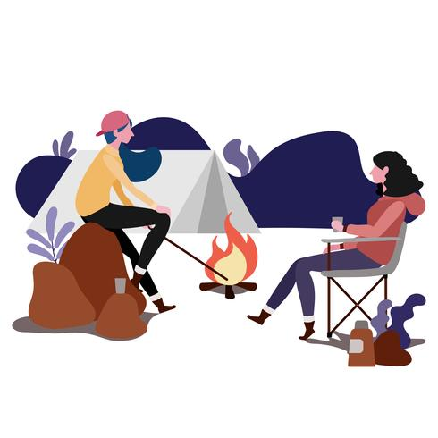 Pareja acampando juntos
