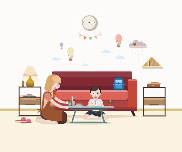 Mor som lär pojke läxor