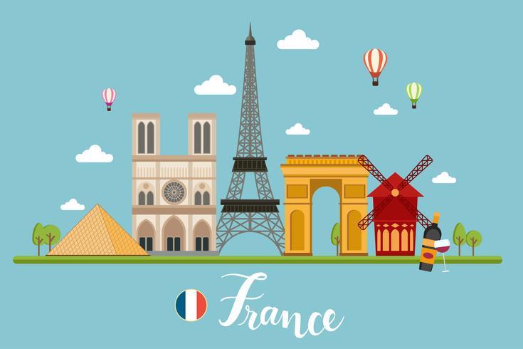 Paisaje de viajes de Francia vector