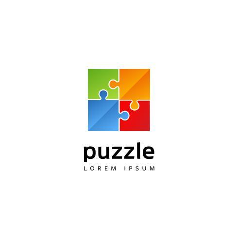 Kleurrijk puzzellogo vector