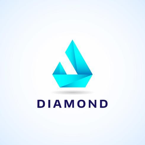 Blå geometrisk diamantlogotyp