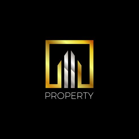 Logotipo moderno de propiedad de oro y plata vector