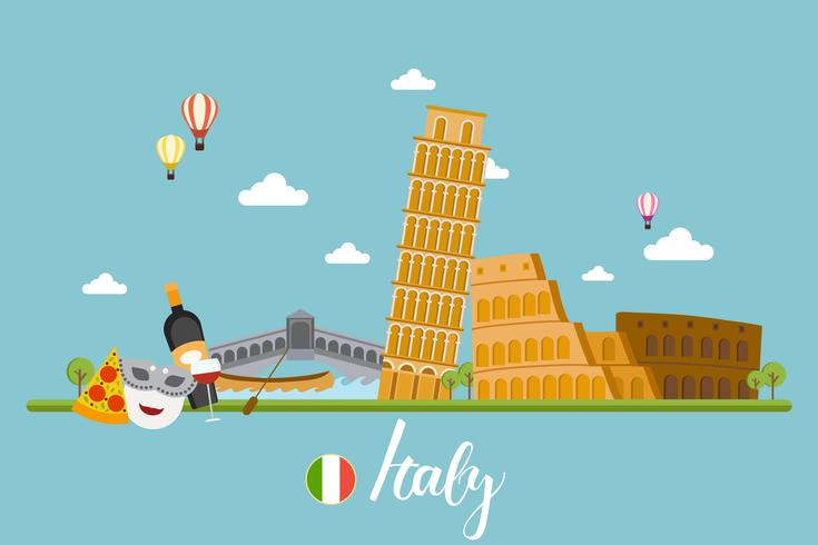 Italy travel landscape vector