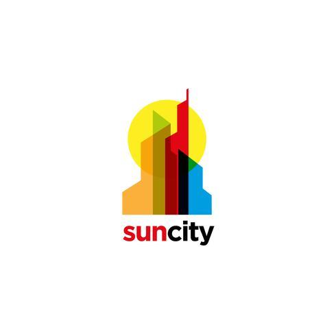 Logotipo colorido de la ciudad de superposición