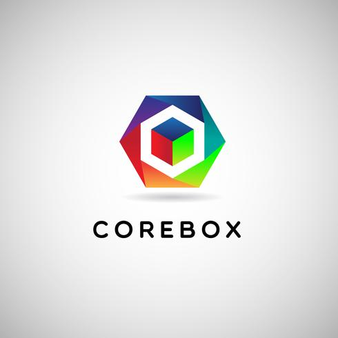 Färgglad kub i ramlogotyp