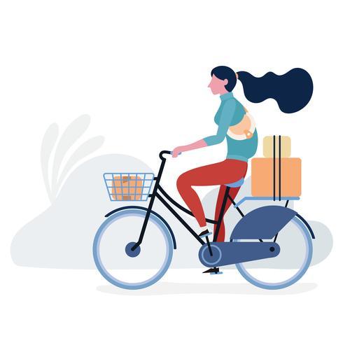 Adolescente, bicicleta equitação vetor