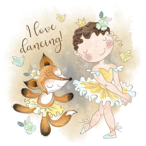 Pequena bailarina dançando com uma bailarina de raposa