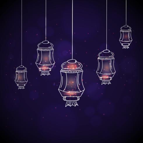Glödande lampor för firande av islamisk festival.