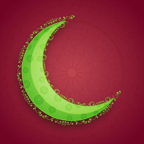 Grön måne för islamisk festivalfirande.