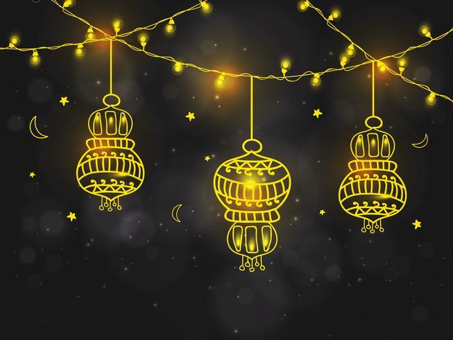 Florale lampen voor de viering van Ramdan Kareem.