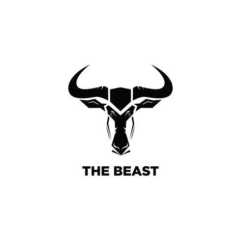 Beast head enkel svart logotyp vektor