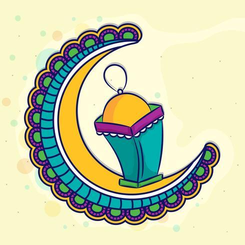 Blommig måne med lampa för Ramadan Kareem.