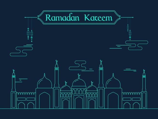 Kreativ moské för Ramadan Kareem-firande.