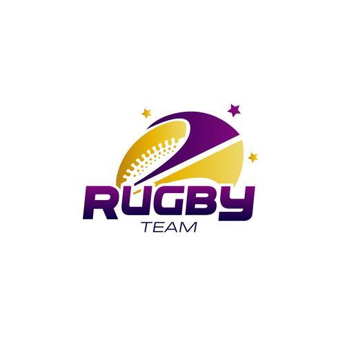Logo de fútbol morado y amarillo