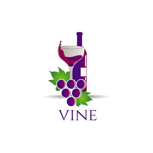 Bouteille de vin avec raisins et verre vecteur