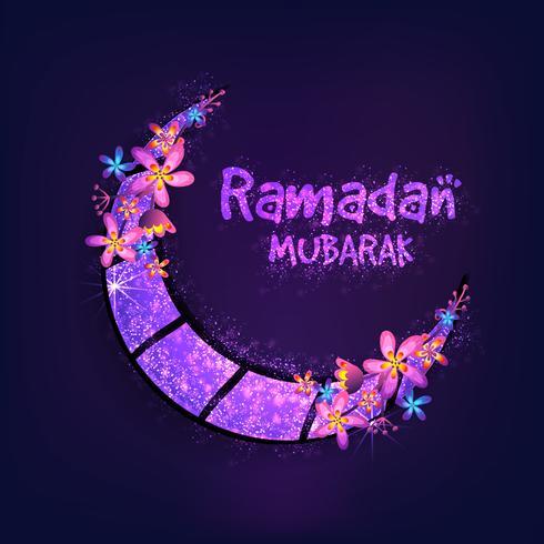 Lune rougeoyante pour la célébration du Ramadan Mubarak.
