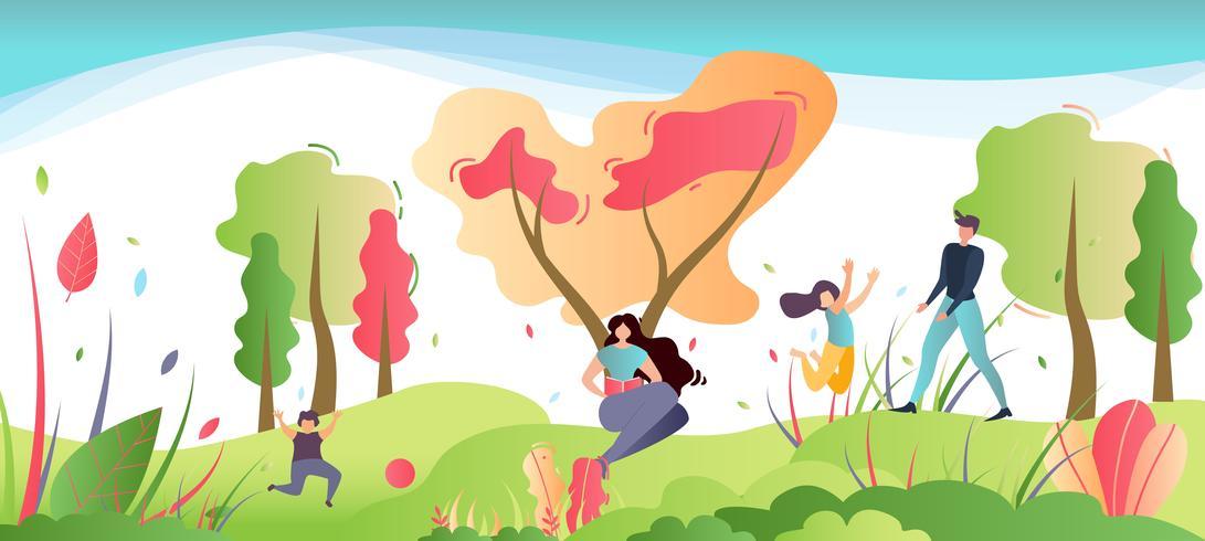 Recreación familiar en la ilustración de la naturaleza