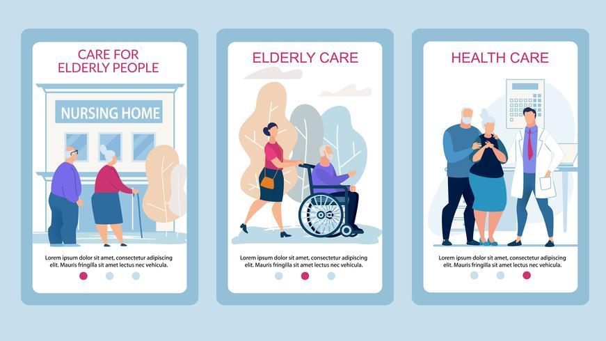 Soins des affiches publicitaires pour personnes âgées Flat vecteur