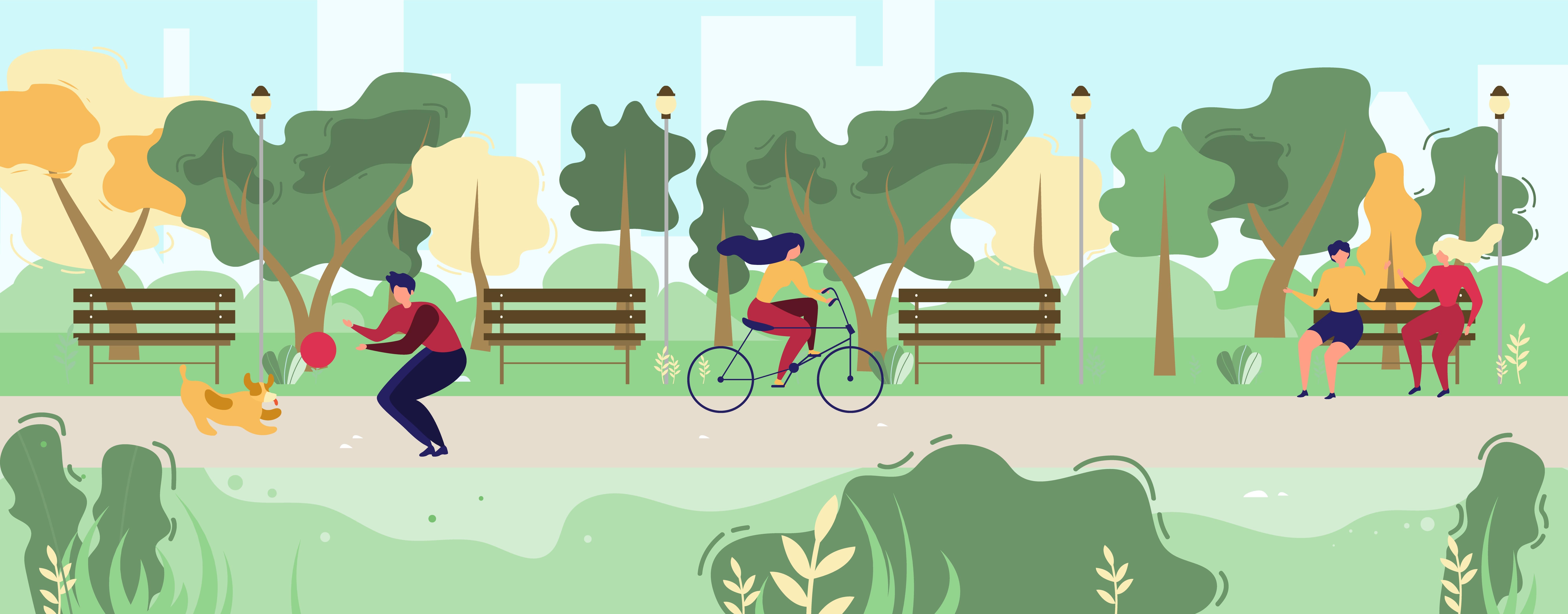 Cartoon People Walking In Flat Urban Public Park Download Free Vectors Clipart Graphics