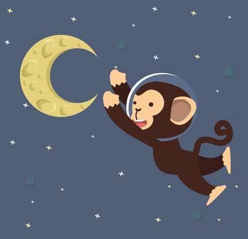 Monkey Astronaut con la luna nello spazio
