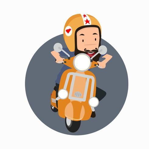 Hipster homem barbudo, montando uma moto