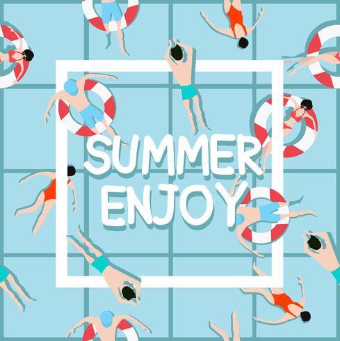 Människor som simmar sommar njuter