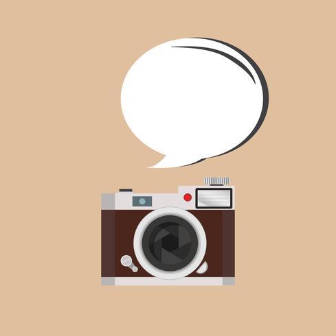 retro camera with dialog balloon