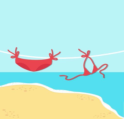 rode bikini op touw met Summer Beach achtergrond