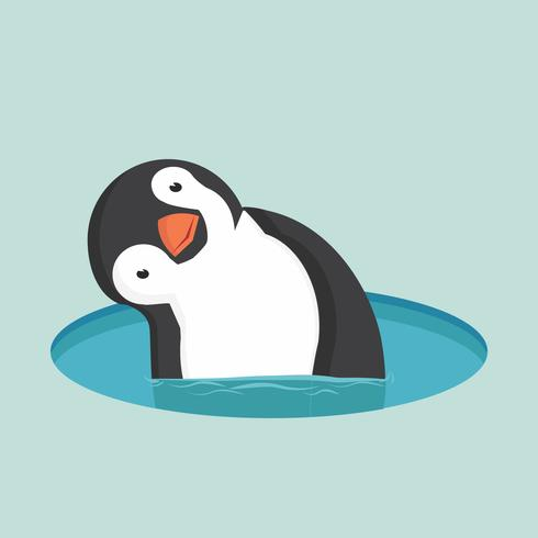 Penguin in water vector