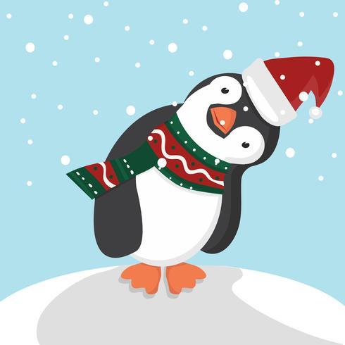 Pingüino lindo con Navidad vector
