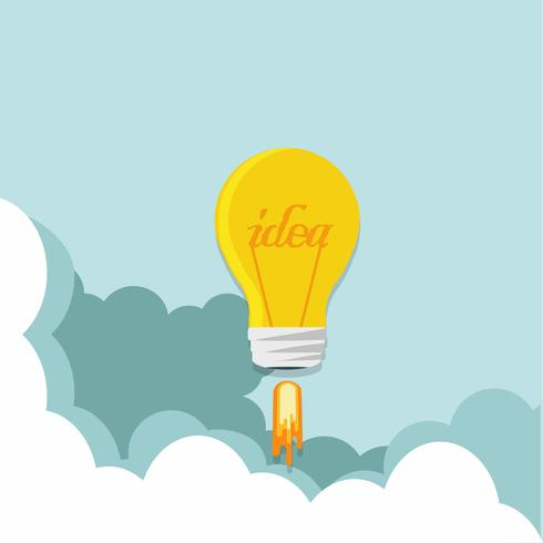 Light bulb rocket in the sky