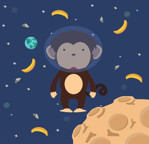 Astronaut monkey  in space flat design vector
