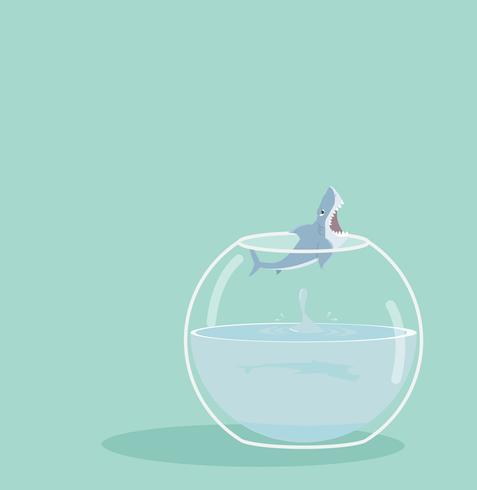 shark jumping out of fishbowl vector