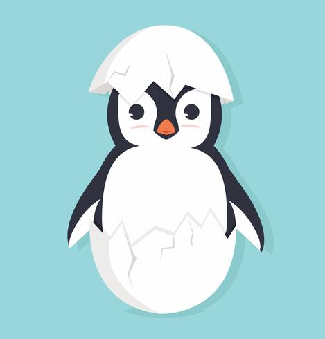 Pingüino lindo en huevo vector