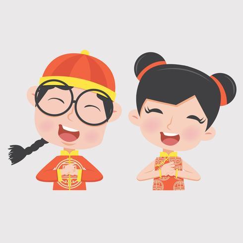 garçon et fille en costume d'enfants chinois vecteur
